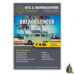 KFZ & Reifenhandel Gresten Flyer/ Plakat