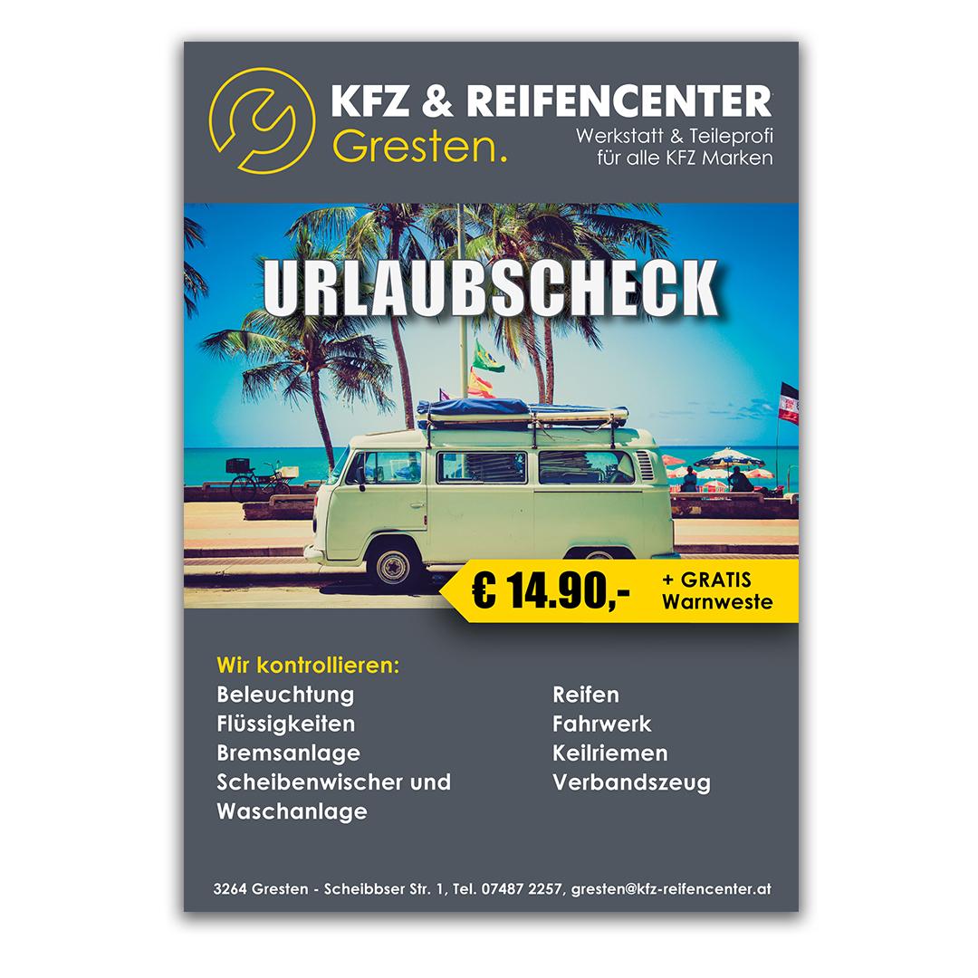 Plakat Urlaubscheck KFZ & Reifencenter Gresten